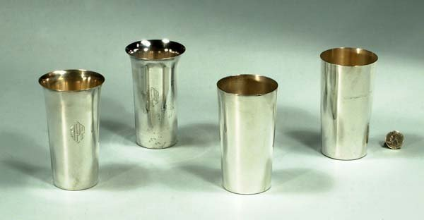 """14: Group of eight sterling silver tumblers, 5"""" high, a"""