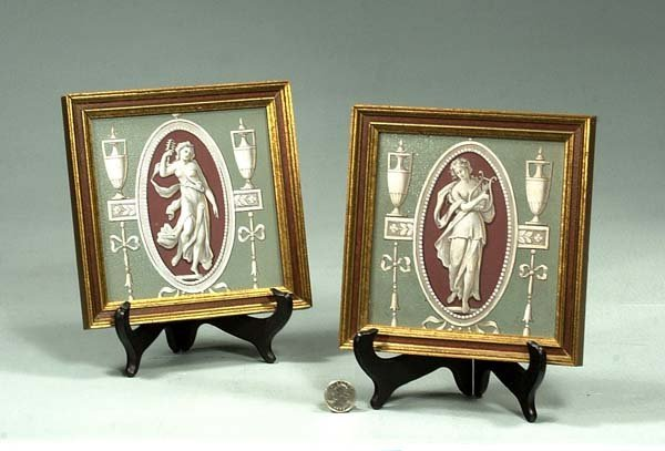 14A: Two framed and hand painted Minton porcelain plaqu
