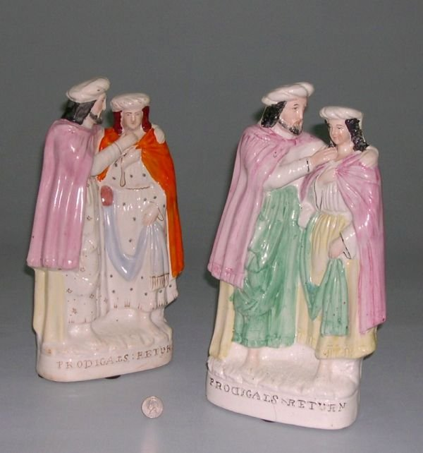 """15: Two 19th century Staffordshire figures, the """"Prodig"""