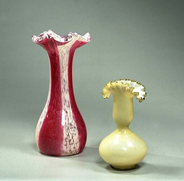 20: Red and white art glass vase with scalloped top, 11