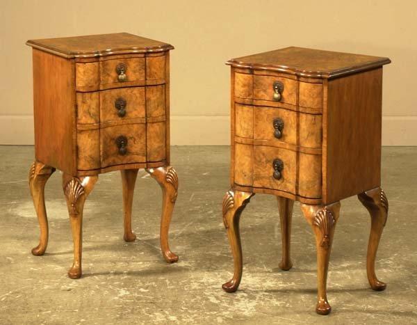 21: Pair of Queen Anne walnut block front three drawer