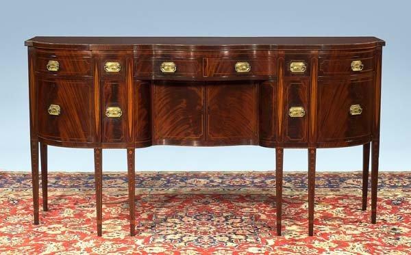 247: Exceptional inlaid American Sheraton mahogany serp