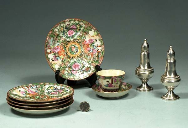 "1002: Group of five Rose Medallion 6"" plates, a cup and"