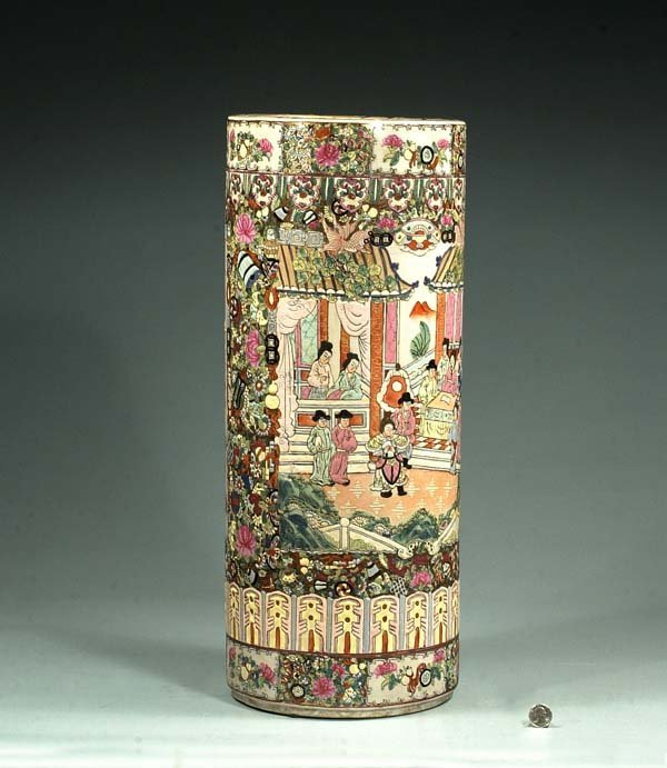 1008: Chinese Rose Medallion umbrella jar with palace s
