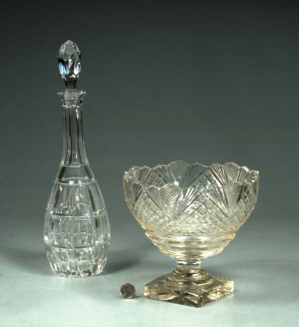 "1010: Cut crystal compote with scalloped top, 8"" diamet"