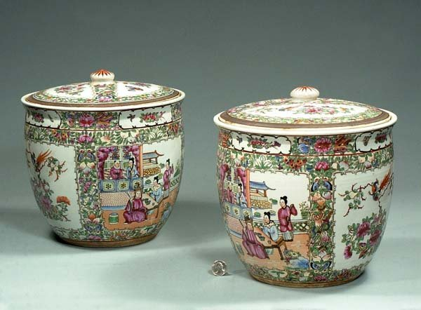 1012: Pair of Chinese Rose Medallion fruit coolers with