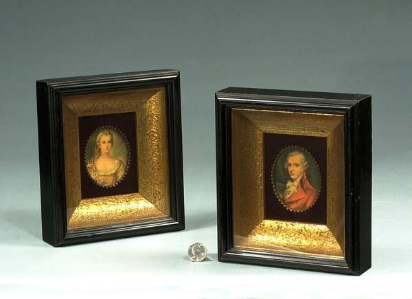 1015: Pair of oval miniature paintings of a man and a w