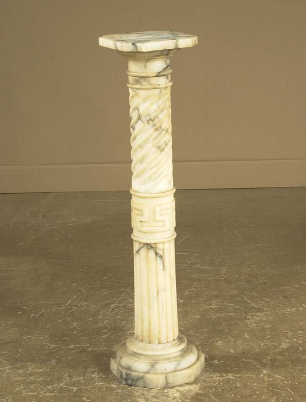 1018: Marble pedestal with swirl Grecian Key and fluted