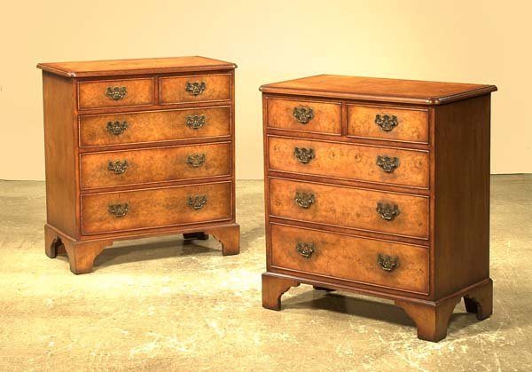 1020: Pair of Queen Anne style burl walnut chest with c