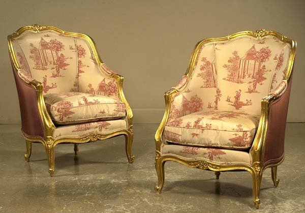 1193: Pair of Louis XV style gold gilt bergere with car