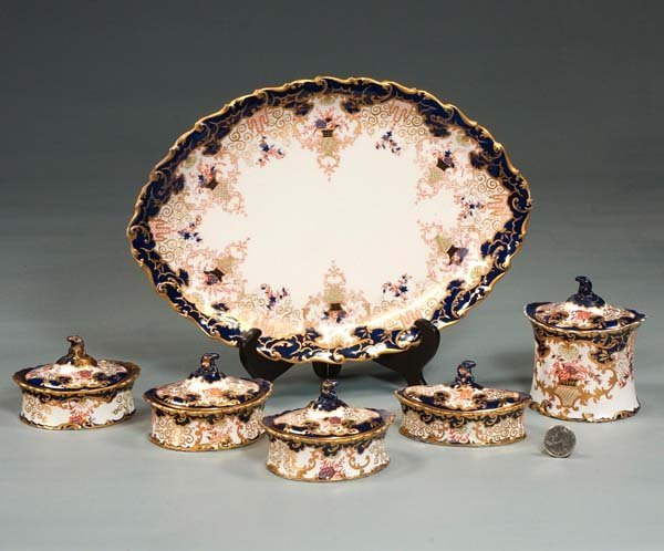 1: Royal Crown Derby dessert set with tray and five cov