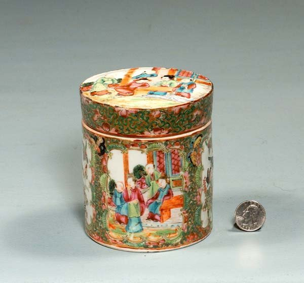5: Round Chinese Rose Medallion covered jar with butter