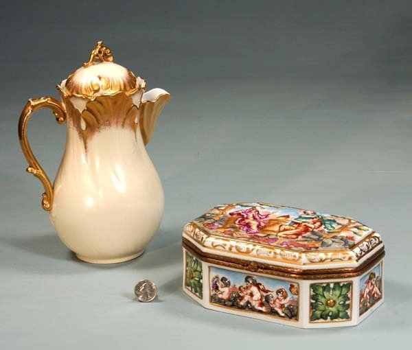 6: Limoges china chocolate pot and a Capo di Monte jewe