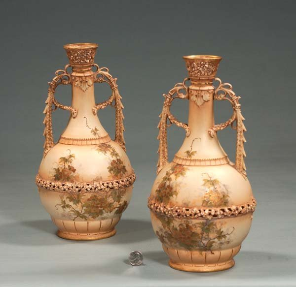 8: Pair of Austrian porcelain vases with reticulated to