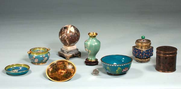 10: Collection of seven pieces of cloisonné and one mar