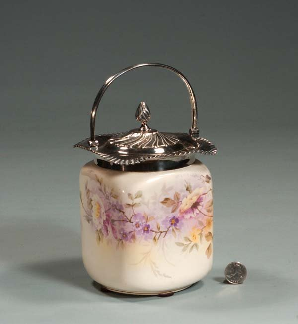 11: English china biscuit jar with silver plated mounts