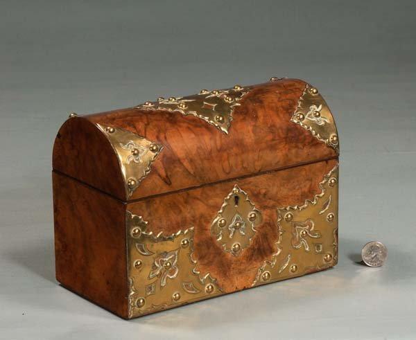 14: English burl walnut dome top tea caddy with brass m