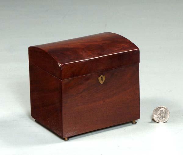 19: Small Sheraton mahogany dome top tea caddy, c.1880,
