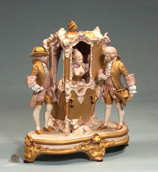 20: Royal Dux porcelain group with lady in a sedan chai