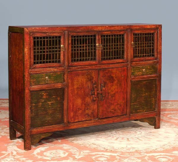 204: Exceptional Chinese lacquered credenza with grill