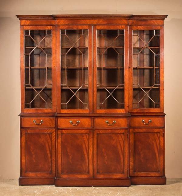 302: Sheraton style mahogany breakfront bookcase with d