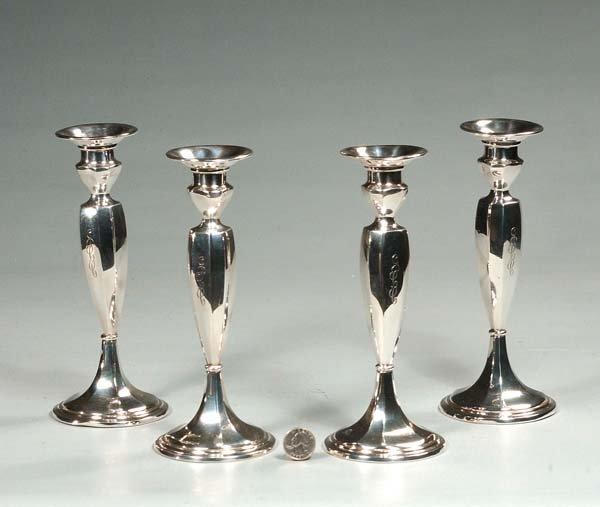 "1: Set of four Gorham sterling silver candlesticks, 9"""