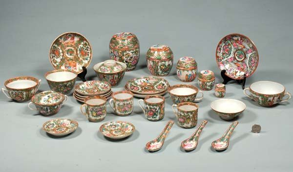 4: Group of 28 pieces of Chinese Rose Medallion saucers