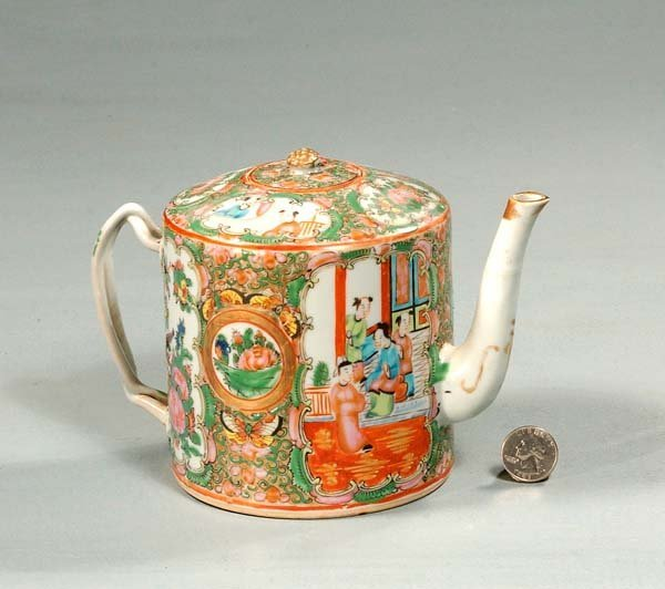 5: Chinese Rose Medallion porcelain tea pot with interl