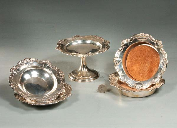 """6: Gorham sterling silver 6"""" compote and 6"""" bowl, along"""