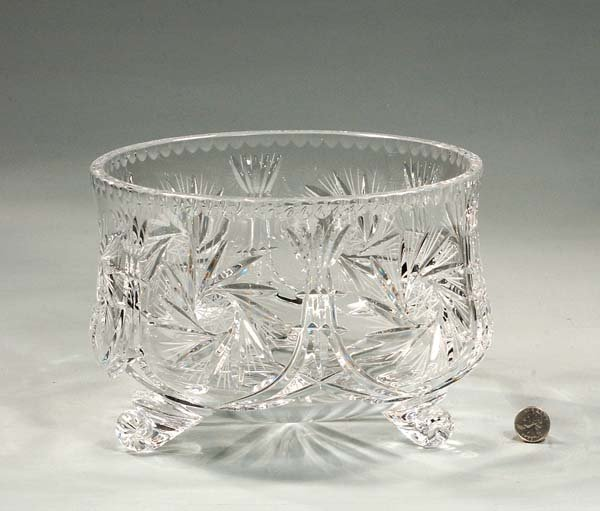 7: Footed cut crystal bowl in the pinwheel cut design,