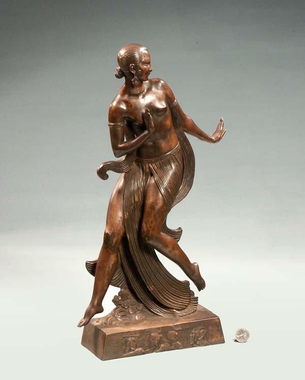 "8: Art Deco bronze sculpture of a lady, signed ""E. Joe'"