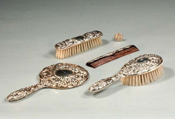 9: Sterling silver dresser set with comb, hair brush, h
