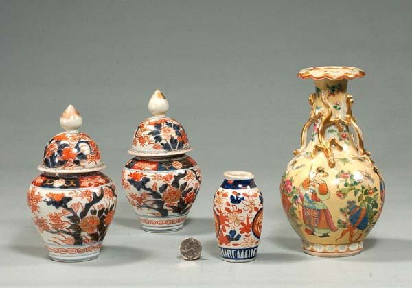 11: Two small Imari porcelain ginger jars, one small Im