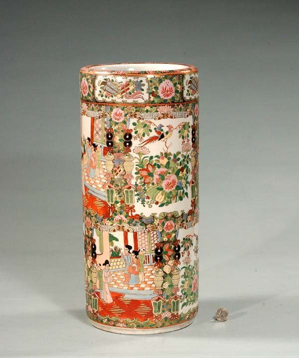 13: Chinese porcelain Rose Medallion umbrella jar with