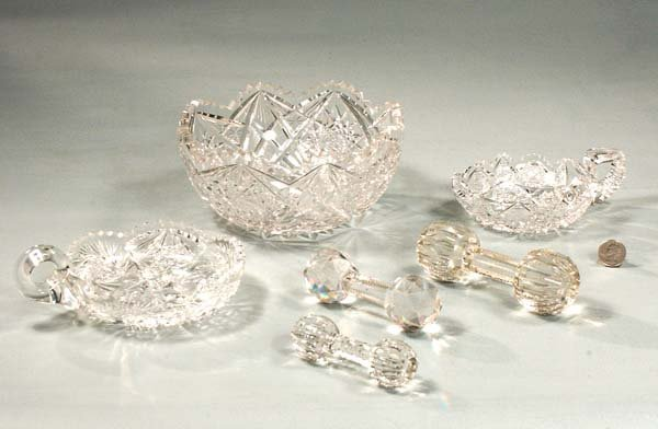 """16: Two cut glass nappies, one 8"""" cut glass bowl and th"""