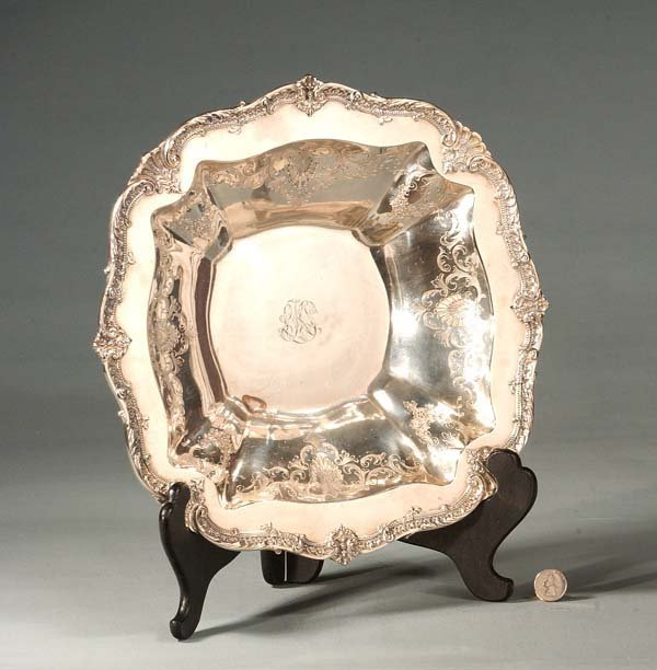 """17: Fine sterling silver 14"""" square bowl with scroll en"""