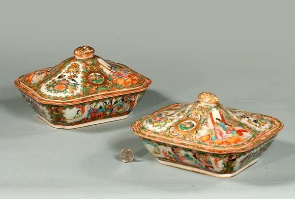 18: Two companion Chinese Rose Medallion covered dishes