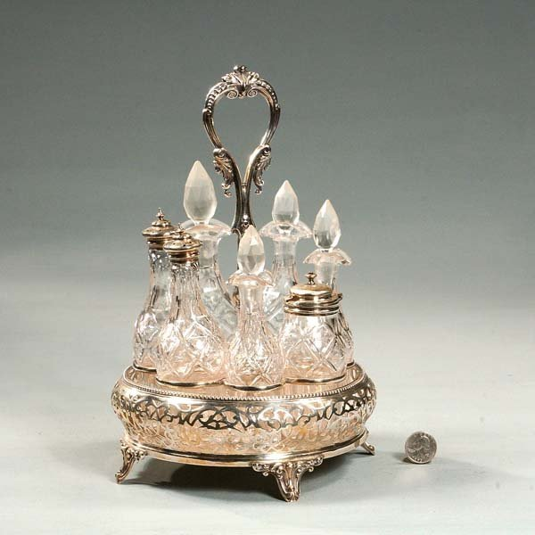 20: English silver plated caster set with seven crystal