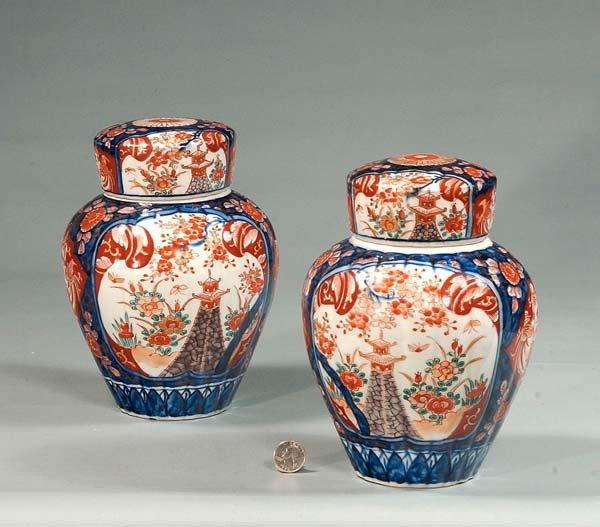 21: Pair of Imari porcelain ginger jars with cobalt blu