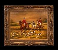 108 Oil painting on canvas English fox hunting scene