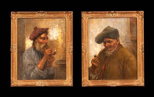 259: Pair of 19th century paintings, interior scenes wi
