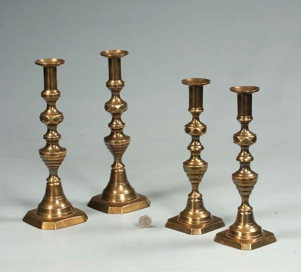 2: Two pairs of English brass beehive candlesticks, c.1
