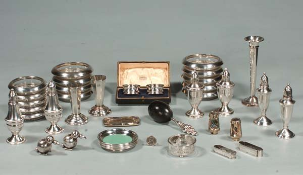 3: Group of sterling silver coasters, salt and pepper s