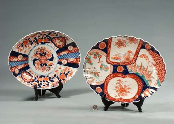 6: Two oval Imari porcelain chargers with bird and flor