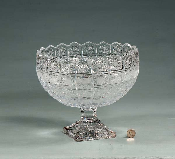 7: Cut crystal compote with scalloped top, Queen's lace