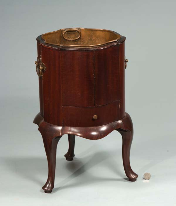 8: Queen Anne style mahogany planter with brass liner,