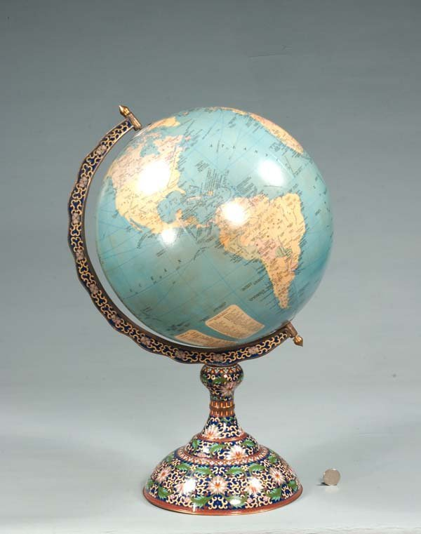 "9: Terrestrial 12"" globe in a cloisonné stand, 21"" high"