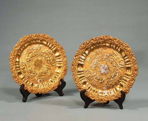 "10: Two 8-1/2"" Meissen porcelain plates with gold encru"