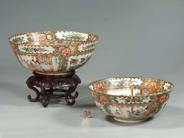 "11: 10"" Chinese rose medallion bowl with stand and a 9"""