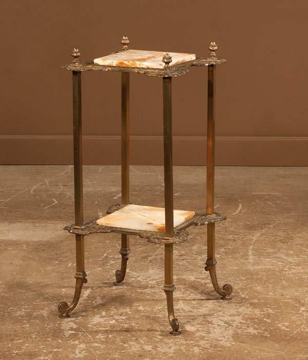"12: Two tier brass stand with onyx tops, 16"" wide, 16"""
